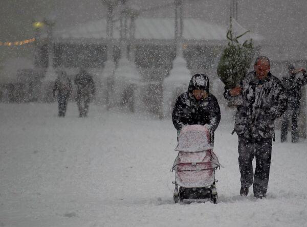 Сильный снегопад в Великобритании