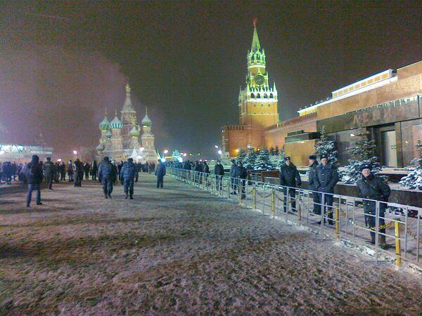 Сотрудники правоохранительных органов на Красной площади