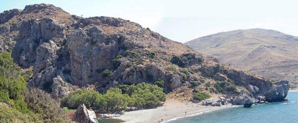 Пляж в Превели, где найдены древние инструменты