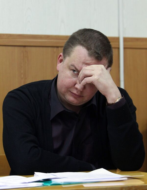 Бизнесмен Сергей Виролайнен, обвиняемый в нападении на журналистку телеканала Russia Today Наталью Архипцеву, в зале Таганского суда Москвы.
