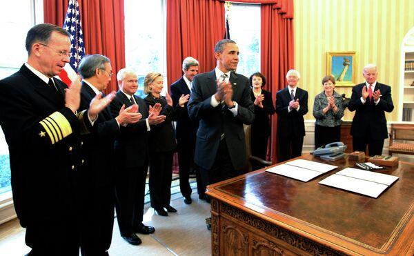 Барак Обама после подписания договора СНВ
