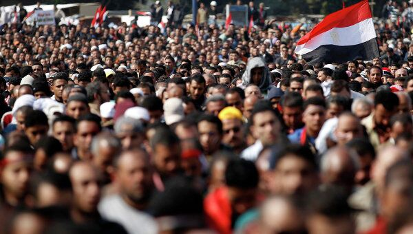 Ситуация в Каире на площади Тахрир 11 февраля 2011 г.