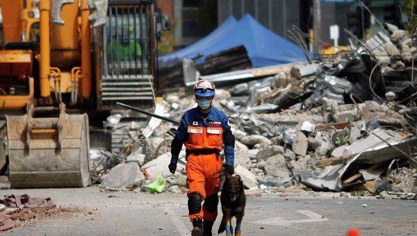 Японский спасатель на месте разбора завалов в городе Крайстчерч в Новой Зеландии