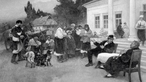 Крепостных крестьян меняют на собак. Картина И.С. Ижакевича (1864 - 1962 гг.)