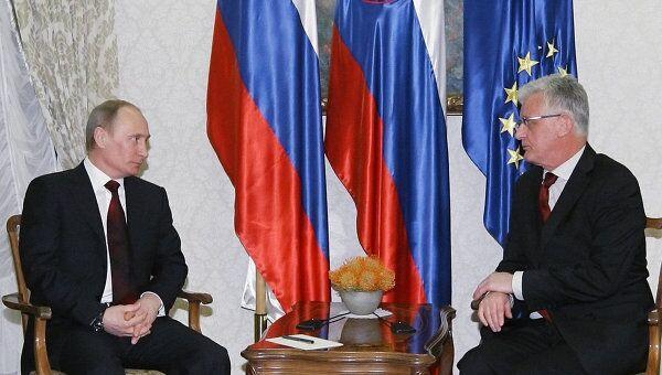 Беседа премьер-министра РФ В.Путина с П.Гантаром