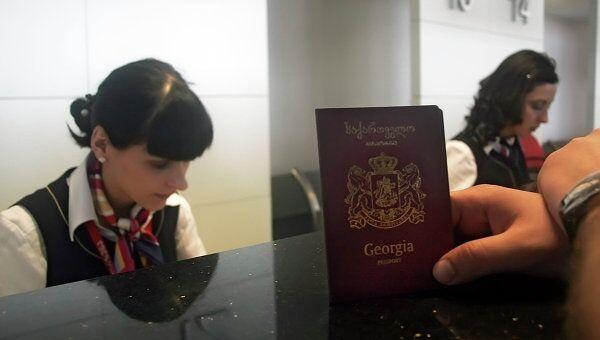 Регистрация пассажиров на рейс грузинской частной авиакомпании Airzena - Georgian Airways. Архивное фото