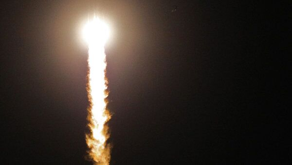 Старт космического корабля Союз ТМА-21 Гагарин на космодроме Байконур