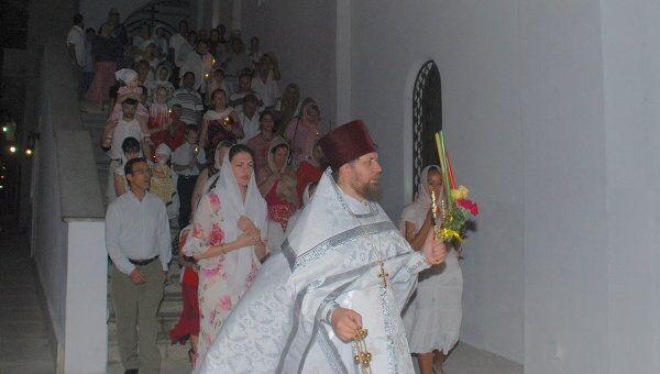 Пасхальное богослужение в православном храме в Гаване