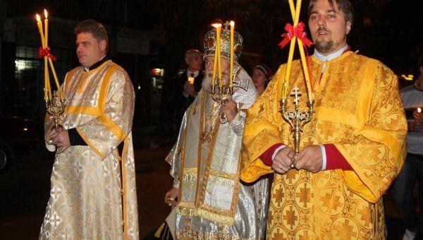 Пасхальное богослужение в православном храме в Буэнос-Айресе