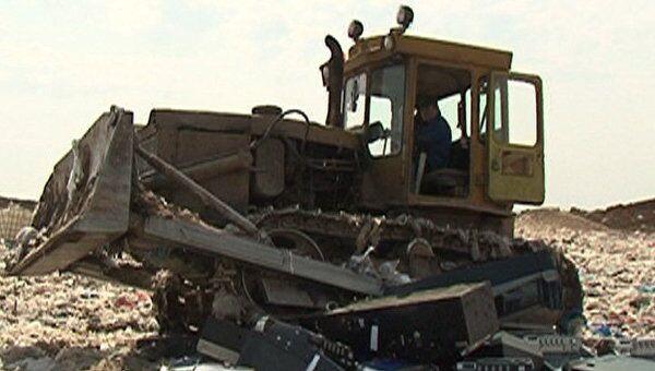 Полсотни игровых автоматов раздавили бульдозерами в Подмосковье