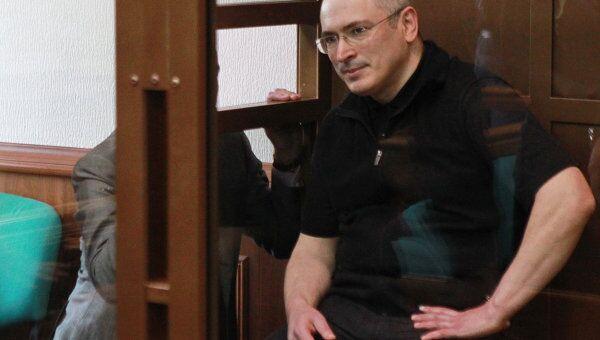 Экс-глава ЮКОСа Михаил Ходорковский в зале заседаний Московского городского суда. Архив
