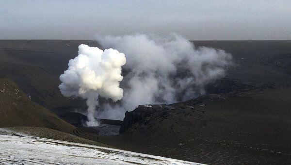 Пепел над вулканом Гримсвотн в Исландии