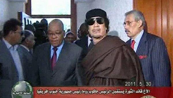 Ливийское ТВ показало фрагменты встречи Каддафи с президентом ЮАР