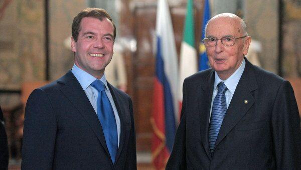 Президент РФ Д.Медведев встретился с президентом Италии Д.Наполитано