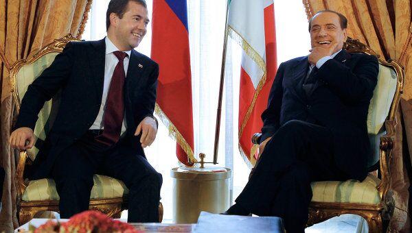 Переговоры Дмитрия Медведева и Сильвио Берлускони