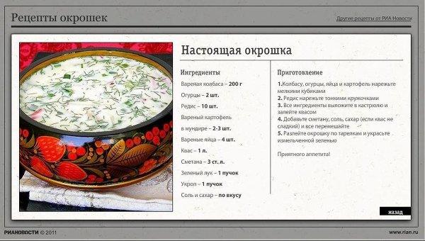 Рецепты окрошек