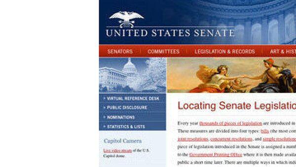 Скриншот сайта сената конгресса США