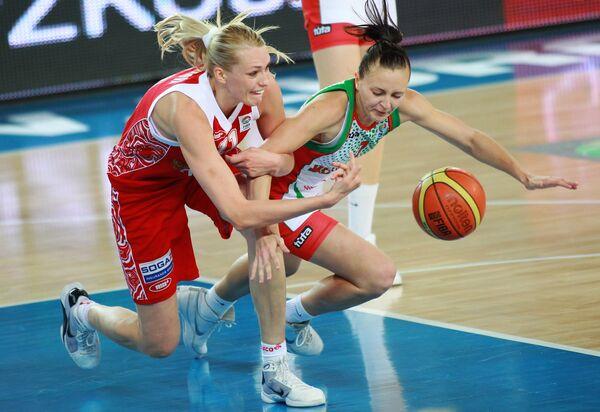 Игровой момент матча Белоруссия - Россия