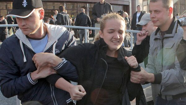 Задержание участников акции протеста движения Революция через социальные сети в День Независимости Белоруссии