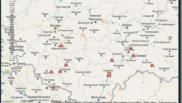 Территории России, пострадавшие от лесных пожаров