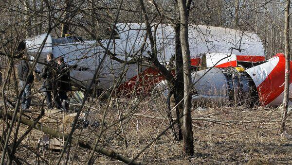 Место падения польского самолета Ту-154 под Смоленском. Архив