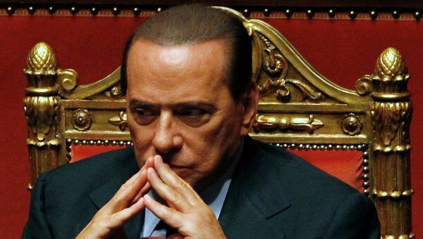 Сильвио Берлускони в сенате итальянского парламента