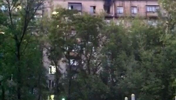 Квартира выгорела в жилом доме в центре Москвы