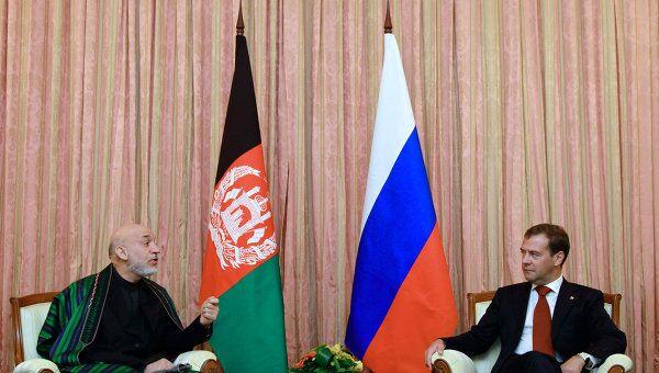 Встреча Д. Медведева и Х. Карзая в Душанбе