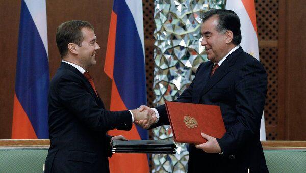 Подписание совместных документов по итогам российско-таджикских переговоров в Душанбе