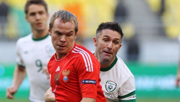Игровой момент матча Россия - Ирландия