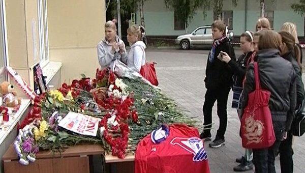 Подготовка к прощанию с погибшими хоккеистами Локомотива