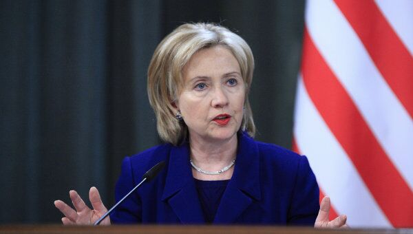 Госсекретарь США Хиллари Клинтон на пресс-конференции по итогам переговоров с главой МИД РФ