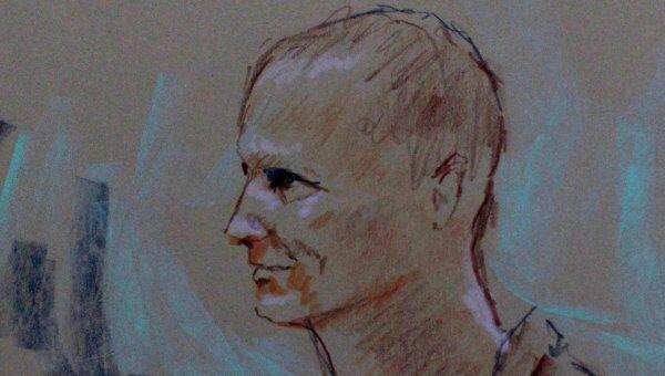 Рисунок с изображением Джареда Лофнера из зала суда в штате Аризона
