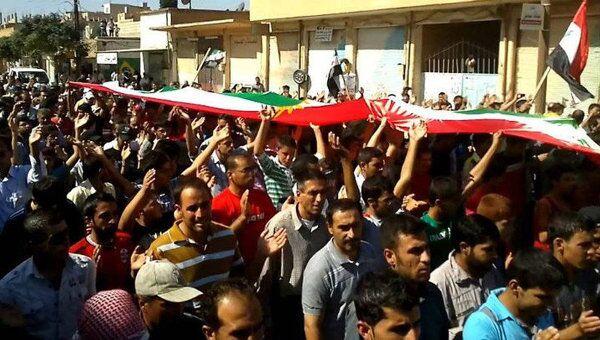 Демонстрация протеста против президента Башара Асада в Сирии