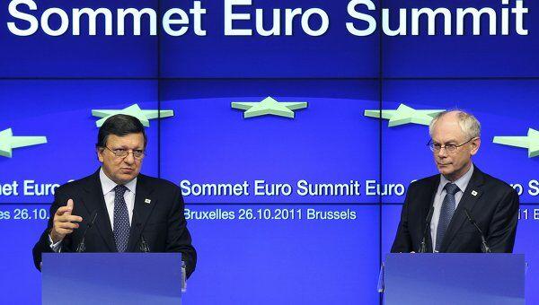 Глава еврокомиссии Жозе Мануэл Баррозу и президент саммита еврозоны Херман ван Ромпей