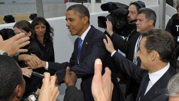 Президент США Барак Обама и президент Франции Николя Саркози в Канне