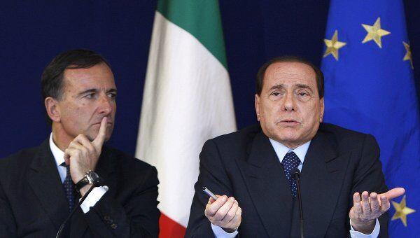 Франко Фраттини и Сильвио Берлускони. Архив