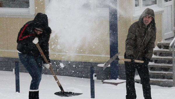 Снегопад во Владивостоке