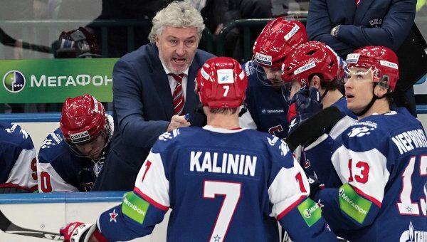 Главный тренер СКА Милош Ржига и хоккеисты СКА. Архив