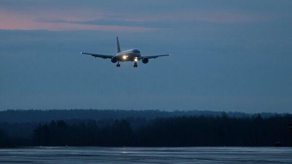 Самолет садится в аэропорту Томск