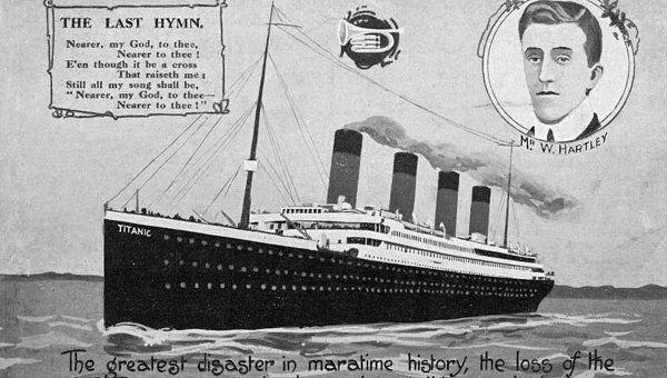 Открытка с изображением Титаника. Архивное фото