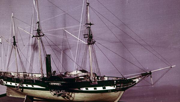 Модель 28-пушечного пароходофрегата Богатырь с полным рангоутом. ЦВММ