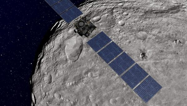 Зонд Dawn на орбите вокруг астероида Веста