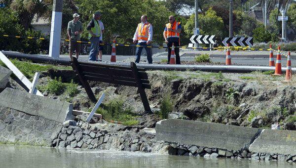 Последствия землетрясения в районе города Крайстчерч в Новой Зеландии