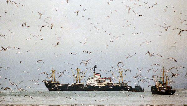 Рыболовецкие судна в море. Архив