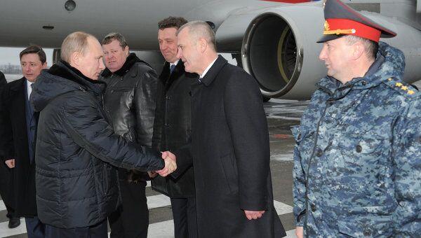 Премьер-министр РФ Владимир Путин прибыл в аэропорт Минеральных вод