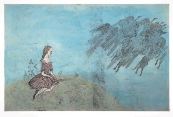 Кики Смит. Come Away From Her (После Льюиса Кэррола). Инталия, ручная раскраска, 2003 год.