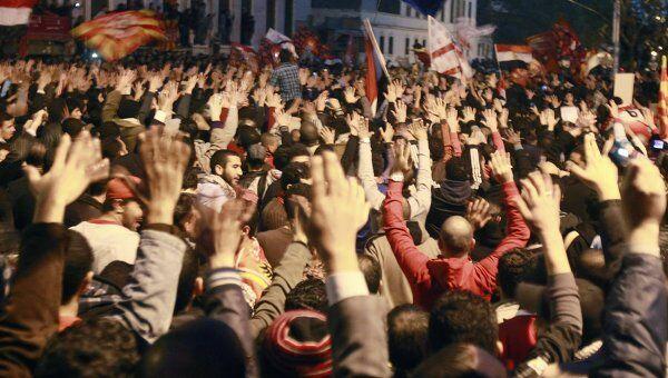 Акция протеста футбольных фанатов в Каире против беспорядков в Порт-Саиде