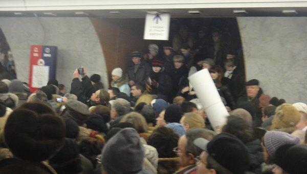 Давка в метро в Москве