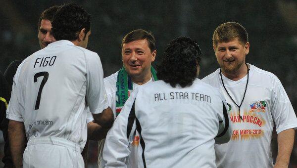 Рамзан Кадыров, Александр Хлопонин, Луиш Фигу и Диего Марадона (слева направо)